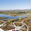 Drone flying over lakes and swamp — Stock Photo #59484625