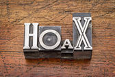 Hoax word in  metal type — Stock Photo