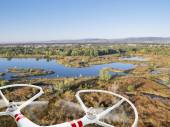 Drone flying over lakes and swamp — Stock Photo