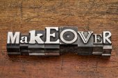 Makeover word in metal type — Stok fotoğraf