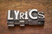 Lyrics word in metal type — Stock Photo