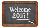 Welcome 2015 on blackboard — Stock Photo