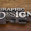 Graphic design text in metal type — Stock Photo #61335031