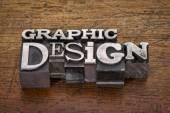 Graphic design text in metal type — Foto de Stock