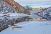 Winter canoe paddling — Foto Stock