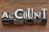 Account word in metal type — Stockfoto