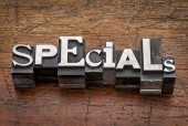 Specials word in metal type — Stock Photo