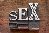 Sex word in metal type — Stock Photo