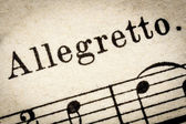 Allegretto  - fast music tempo — Stock Photo