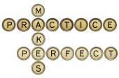 Practice makes perfect croosword — Stock Photo
