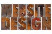 Website design in wood type — Stock Photo