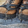 Hiking boots with crampons — Stock Photo #63753297