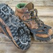 Hiking boots with crampons — Stock Photo #63753433