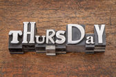 Thursday word in mixed vintage metal type — Stock Photo