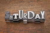 Saturday word in mixed vintage metal type — Stock Photo