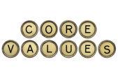 Core values in typewriter keys — Stock Photo