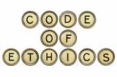 Code of ethics in typewriter keys — Stock Photo