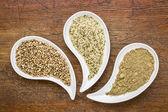 Hemp seeds, hearts and protein powder — Stock Photo