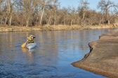Canoe paddling on South Platte RIver — Stock Photo