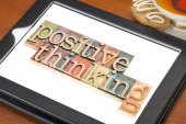 Positive thinking typography  on tablet — Stock Photo