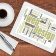 Web design word cloud on tablet — Stock Photo #68204447