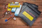 LiPO batteries and protective charging bags — Stock Photo