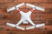 Phantom drone with spinning propellers — Stock Photo
