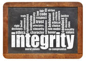Integrity word cloud on blackboard — Stock Photo