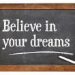 Believe in your dreams on blackboard — Stock Photo #68605337