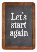 Let us start again on blackboard — Stock Photo