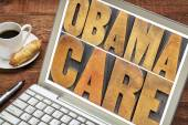 Obamacare typography on laptop screen — Stock Photo