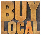 Buy local words in wood type — Stock Photo