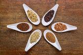 Six  healthy, gluten free grains — Stock Photo