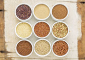 Nine healthy, gluten free grains — Stockfoto