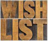 Wish list word abstract typography — Stock Photo