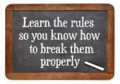 Learn and break rules — Stock Photo
