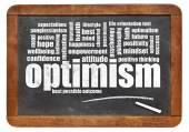 Optimism word cloud on blackboard — Stock Photo