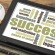 Success word cloud on tablet — Stock Photo #71207449