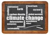 Climate change word cloud on blackboard — Stock Photo