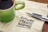Explore, create, inspire on napkin — Stock Photo