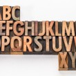 Alphabet abstract in wood type — Stock Photo #72844917