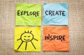 Explore, create, inspire and smile reminder — Stock Photo
