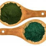 Chlorella and spirulina supplement powder — Stock Photo #74540763