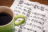 Mathematical equations on napkin — Stock Photo
