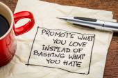 Promote what you love on napkin — Стоковое фото