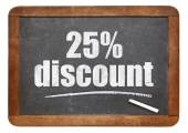 twenty five percent discount blackboard sign — Stock Photo