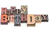 Happy Birthday greeting sign in wood type — Stock Photo