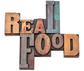 Real food word abstract in wood type — Stock Photo