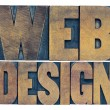 Web design word abstract in wood type — Stock Photo #77574246