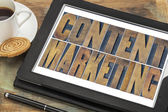 Content marketing typography on tablet — Stock Photo